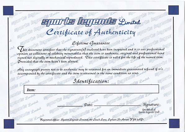 Sports Legends Certificate of Authenticity