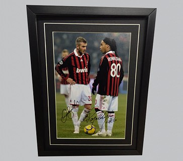 Beckham & Ronaldinho Signed AC Milan Photo