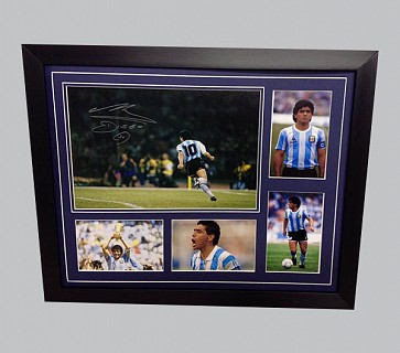 Maradona Signed Colour Photo + 4 Photos