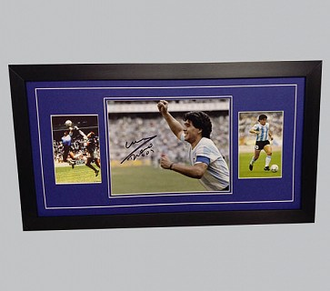 Maradona Signed Colour Photo + 2 Photos