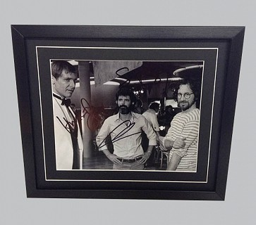 Harrison Ford, George Lucas & Steven Spielberg Signed Photo