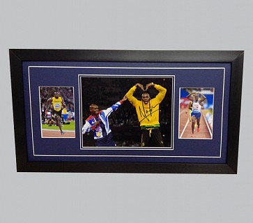Mo Farah & Usain Bolt Signed Photo + 2 Photos